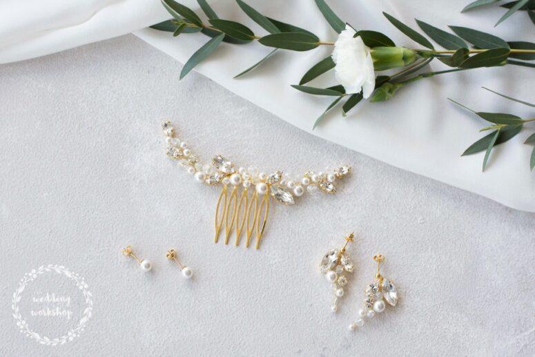 ślubna biżuteria z perłami zestaw dla panny młodej EPIA