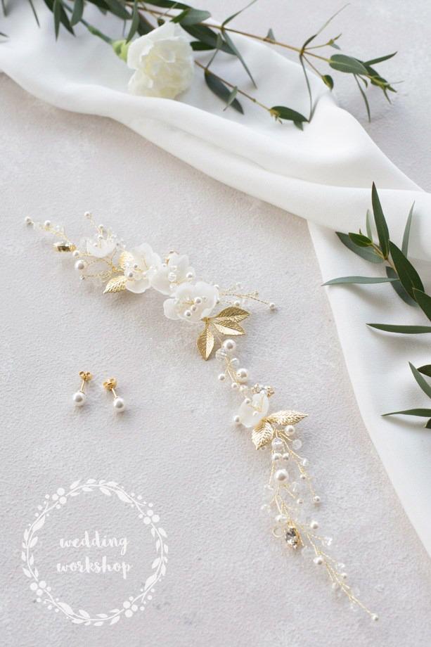 kolczyki ślubne wkręty perły i złoty wianek z kwiatami EPIA