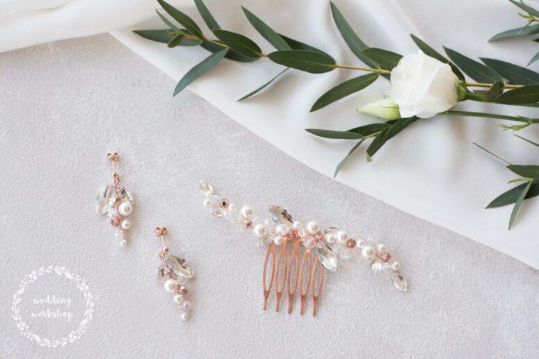 delikatna biżuteria na ślub w kolorze rose gold NILDA