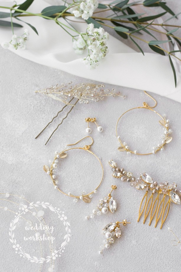 biżuteria na ślub złota z perłami NILDA