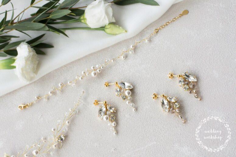 bransoletka z perłami i długie kolczyki NILDA