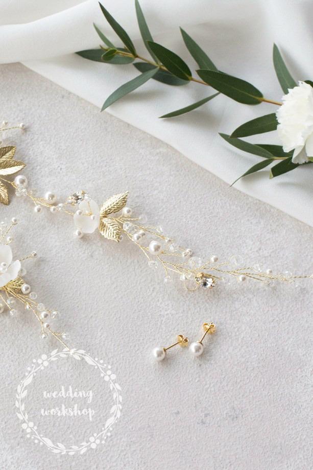 ślubne kolczyki sztyfty z perłami model EPIA