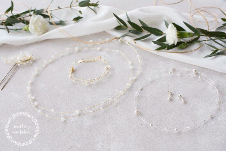 zestaw ślubnej biżuterii składający się z bransoletki wianka i kolczyków EPIA