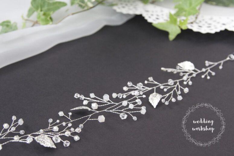 detal srebrnego wianka dla panny młodej ALISA BASIC