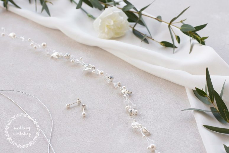 komplet ślubnej biżuterii wianek i kolczyki z perłami EPIA