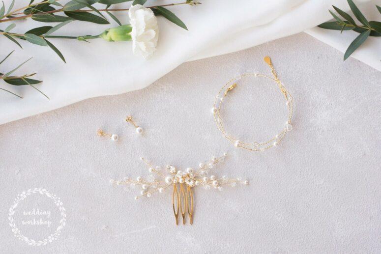 złoty komplet biżuterii dla panny młodej z perłami Swarovski EPIA