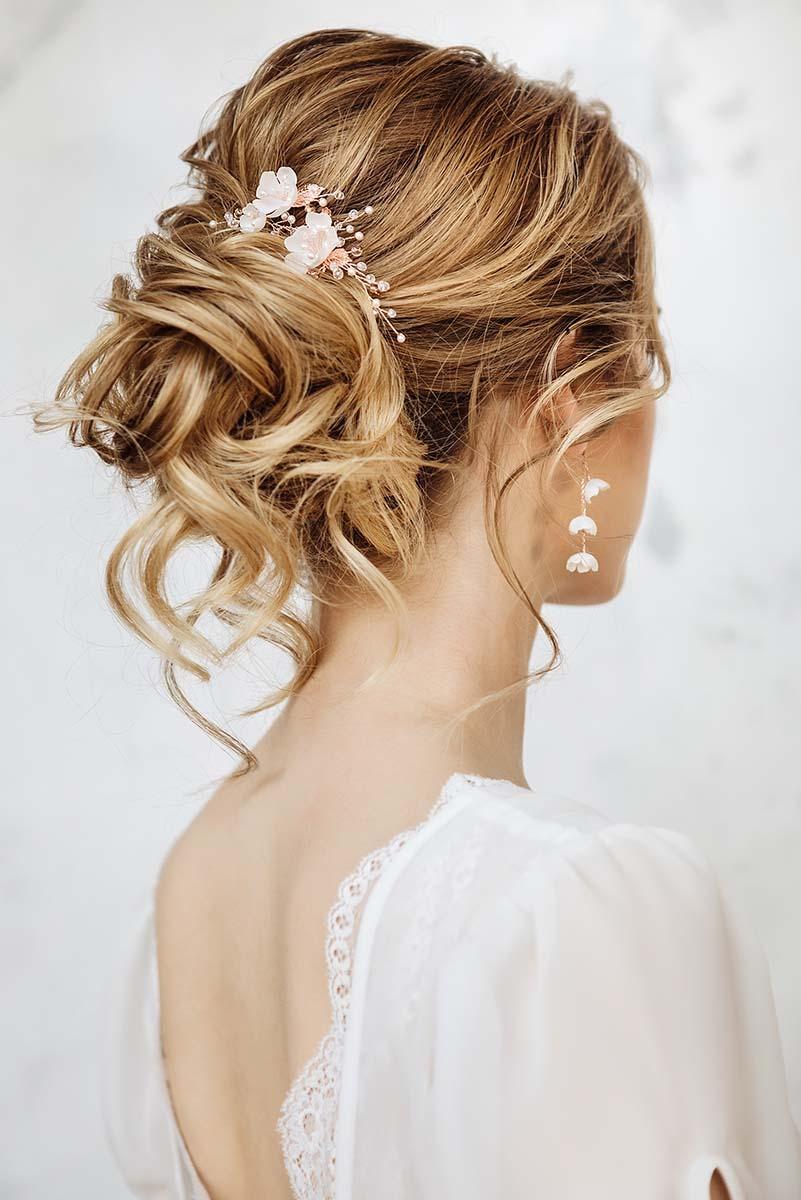 komplet biżutera ślubna z kwiatami rose gold